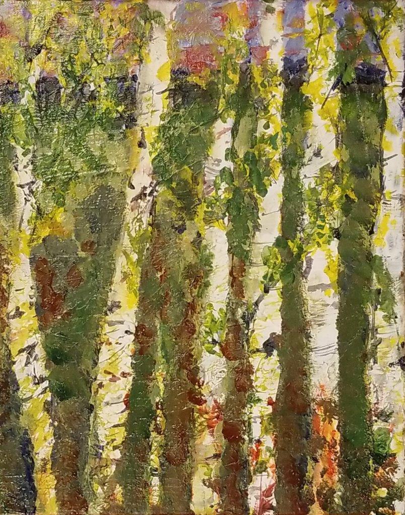 Aspen Grove Mountains Oil On Canvas